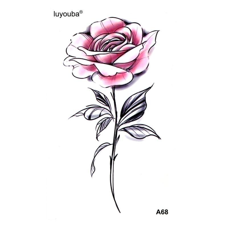 Pink Rose Waterproof Temporary Tattoo Sticker Henna Tatoo Body Sticker Beauty Flower Fake Tattoo The Flash Tatuajes Temporales