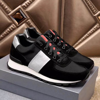 Designer Leather Patchwork Mens Sneakers Breathable Outdoor Walking Athletic Sport Shoes Thick Sole Top Quality Running Shoes