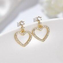Fashion Crystal Heart Earrings Contracted Joker Long Women Drop Jewelry