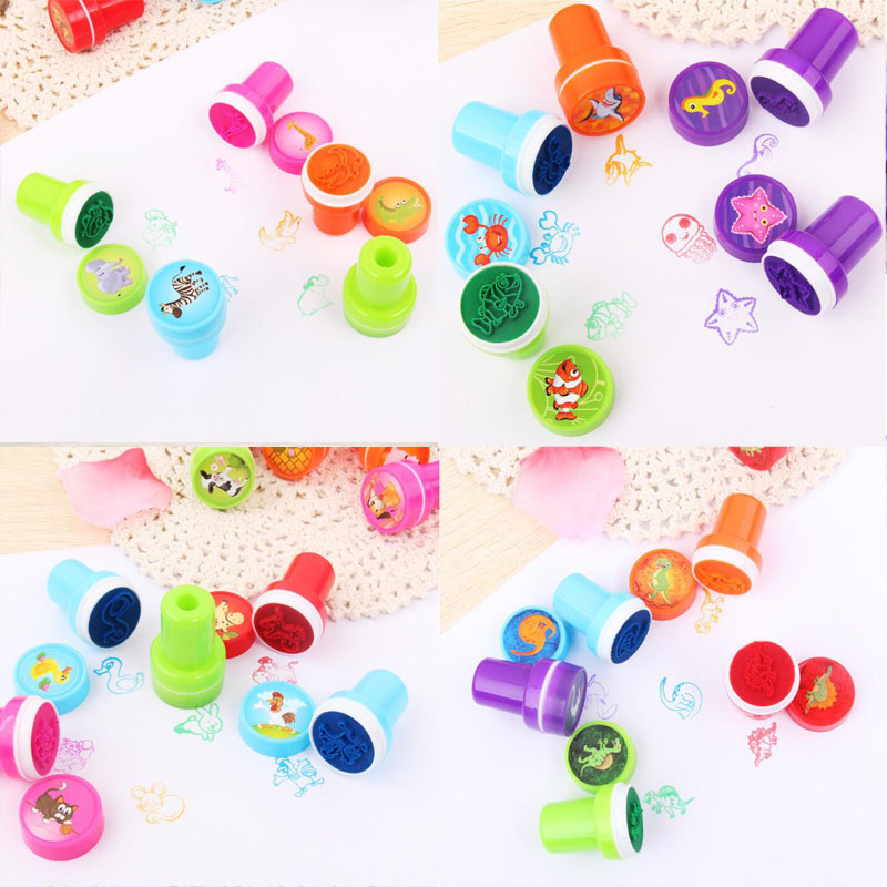 10pcs/Set Cartoon Bring Inkpad Seal Toy School Office Party Favors Kids Educational Stationery Cute Animals Series Round Inkpad