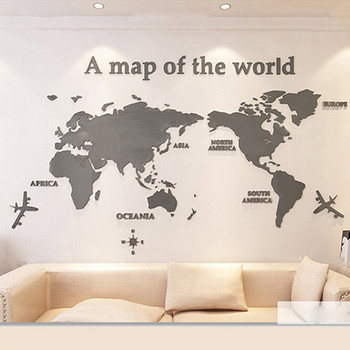 World Map Acrylic 3D Stereo Wall Sticker Wall Decoration Color->Gray