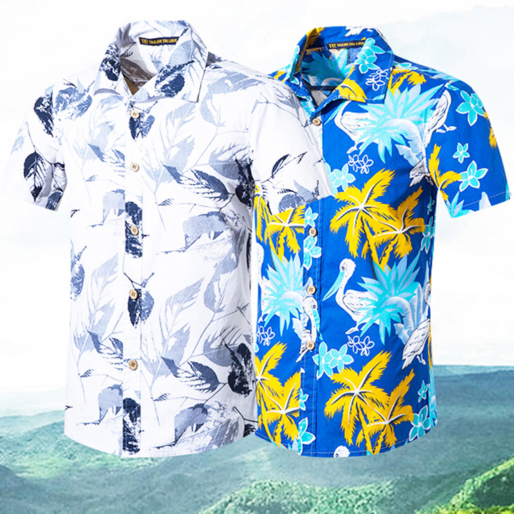 2019 Brand New Men Shirt Men Casual Short Sleeve Patchwork Turn-down Collar Shirt Blouse Streetwear Camisas Hombre Feb7
