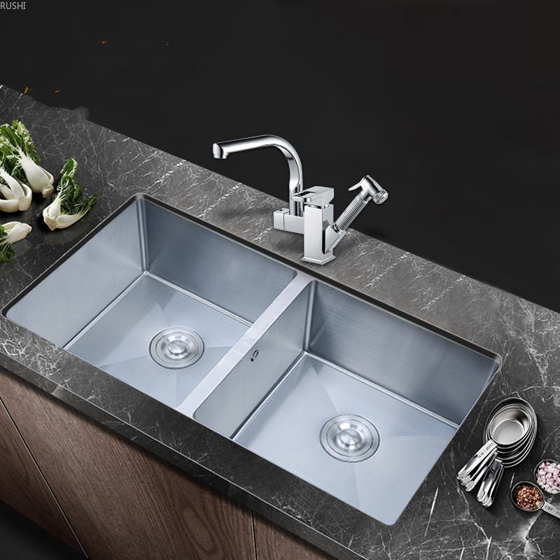 Double Bowl Kitchen Sink 304 Stainless Steel 1.2MM Thick Basin Undermount Double Sink Large Size Vegetable Washing Basin Set