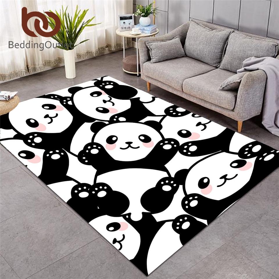 BeddingOutlet Panda Decorative Carpets For Living Room Cartoon Rainbow Floor Mat Animal Kids Bedroom Area Rug Alfombra 152x244cm