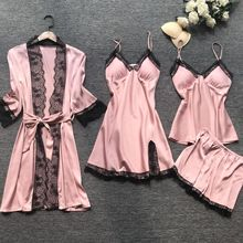 QWEEK Summer 2019 Women Pajama Sets 4 Pcs Sexy Lace Pyjamas Satin Silk Sleepwear Elegant Pijama with Chest Pads Homewear