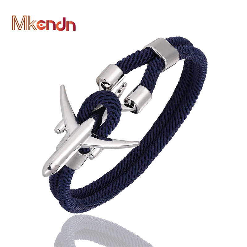MKENDN Airport Fashion Men Women Airplane Anchor Bracelets Charm Rope Chain Paracord aviation life Jewelry Pulseras hombres title=