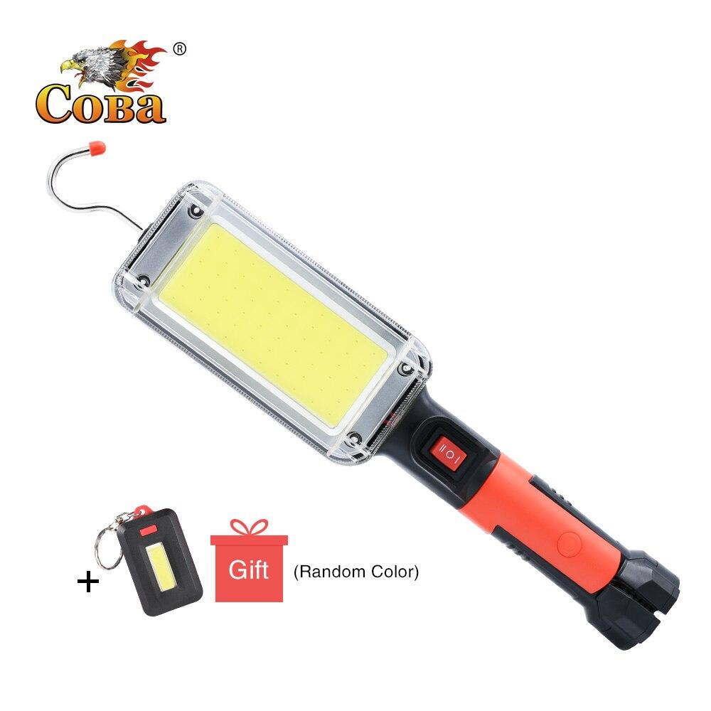 Coba led trabalho luz cob holofote 7500lm recarregável uso da lâmpada 2*18650 bateria led portátil magnético luz gancho clipe à prova dwaterproof água