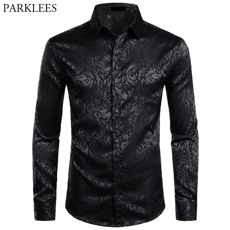 Men's Floral Black Dress Shirts 2019 Stylish New Long Sleeve Steampunk Shirt Men Party Club Bar Social Shirt Male Chemise Homme