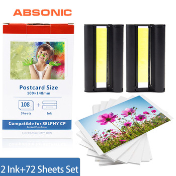 for Canon Selphy Ink Paper Set 2 Ink Cartrdige+72 Sheet Photo Paper for Canon Selphy Printer CP1200 CP1300 CP910 CP900 KP-36IN casual canvas handbags portable storage bag men women case for canon selphy cp910 900 1200 digital photo printer