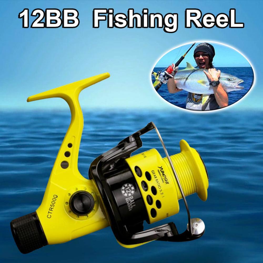 12BB Fishing Reel CTR2000-7000 5.5: 1 Foldable Arm Rocker Spinning Reel Lightweight Rear Drag Spool Fish Spinning Wheels