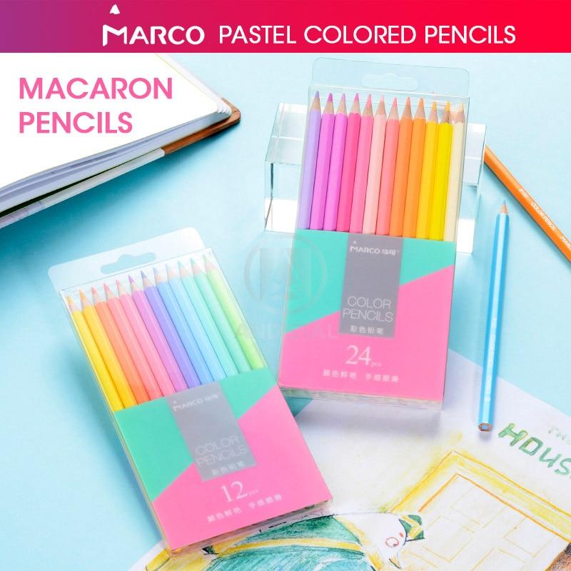 Andstal Marco 12/24 Macaron Cores Pastel Não-tóxico Lápis de Cor lápis de cor Lápis de Cor Profissional para Material Escolar