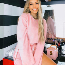 SKMY Two Piece Set Pink Long Sleeve Round Neck Top And Strappy High Waist Shorts Set Fashion Sexy Casual Tracksuit 2019 Autumn active round neck drawstring waist tracksuit in beige