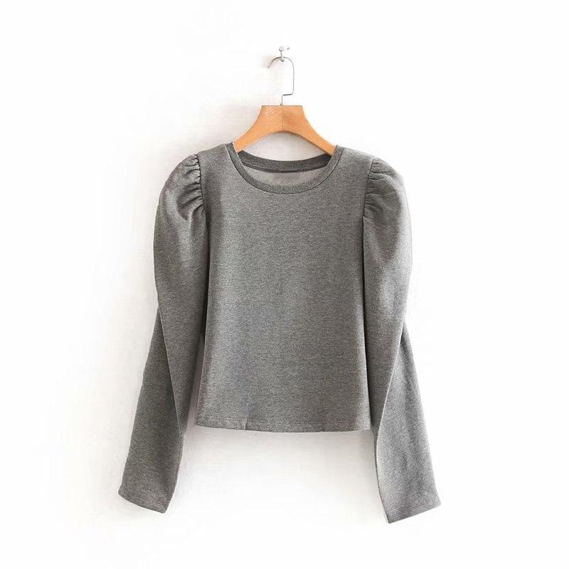2019 Novas Mulheres da moda manga sopro cor sólida casuais sweatershirts senhoras outono o pescoço básica fleece hoodies topos chiques H087