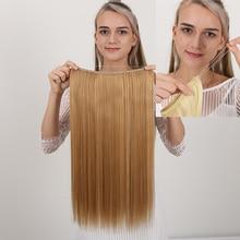 Длинные MANWEI клип в один кусок рыбы линии наращивания волос прямые волосы синтетические парики черный коричневый фиолетовый красный