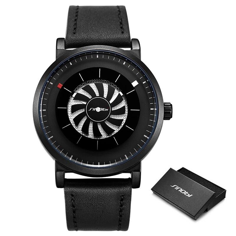 Men Wristwatch Quartz New SINOBI Brand Design Fan Turning Dial Creative Watch Men Male Sports Leather Waterproof Clock Relogio