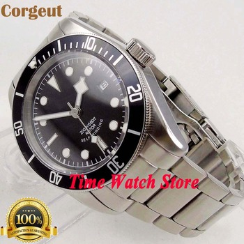 41mm Corgeut 20ATM Miyota 8215 Automatic Men's watch sapphire glass black sterial dial white marks SS bracelet  cor94