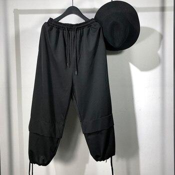 Owen Seak Men Casual Harem Pants High Street Wear Men's Clothing Hip Hop Sweatpants Spring Cross Loose Black Pants