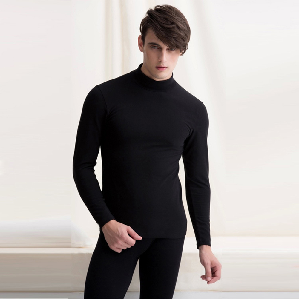 2020 New Fashion Male Thermal Underwear Men Long Autumn Winter Turtleneck Tops+Pants Set Warm Thick Tops Plus Size