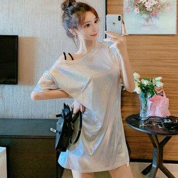 #5030 verano Rosa plata brillante Camiseta vestido mujeres mangas cortas un hombro suelto Sexy Mini vestido señoras Suspender vestidos