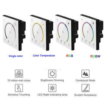 New 86 Touch Panel Switch DC12-24V Controller Light Dimmer Switch single color/CT/RGB/RGBW LED Strip Tempered Glass Wall Switch