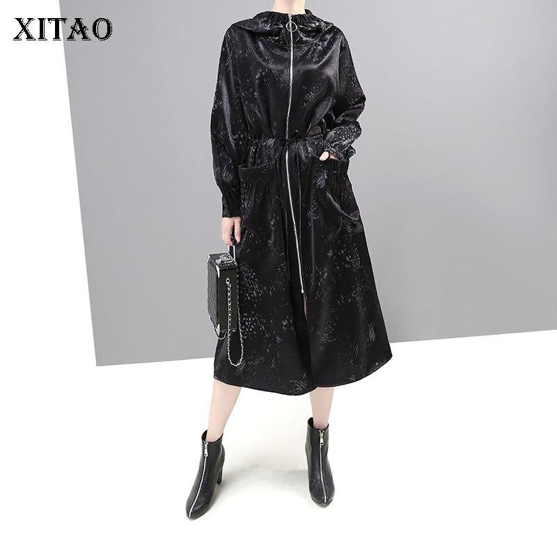 XITAO Korean Style Hooded   Trench   Windbreaker Fashion Coat for Women Loose Plus Size Top Autumn Winter Women Clothes 2019 XJ2376
