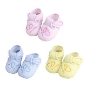 Baby Shoes Prewalkers Infant Boy Love Anti-Slip Heart Stripe 1pair Cotton