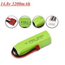 Atualizado 4S 14.8v 3200 mah 30c lipo bateria para ft010 ft011 rc barco peças de reposição 14.8v bateria com t plug