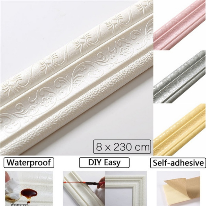 3D Foam Wall Stickers Waterproof Self-Adhesive Wallpaper Border Wall Decor Removable Sticker for Living Room Bedroom