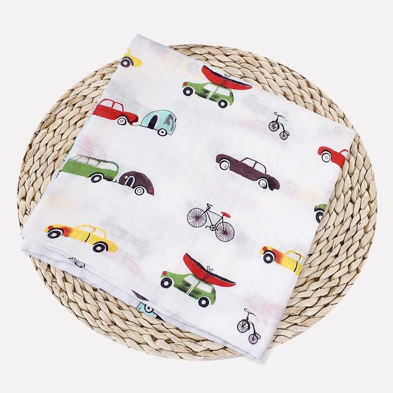 1 шт., муслин, хлопок, детские пеленки, мягкие одеяла для новорожденных, для ванной, марля, Детская накидка, спальный мешок, чехол для коляски, игровой коврик - Цвет: Car