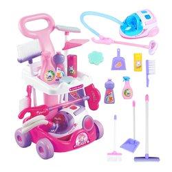 Simulação de jardinagem trolley reparação a vácuo crianças conjunto de limpeza pá rega preparado trolley brinquedos pá de rega