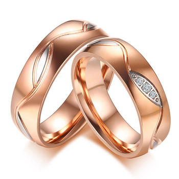 18k Rose Gold 2 colors titanium stainless steel zircon Wedding Band Set 2