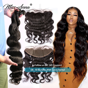 MissAnna Brazilian Human Hair Bundles With Frontal and Closure Body Wave Remy Human Hair Weave Bundles With 13x4 Lace Frontal