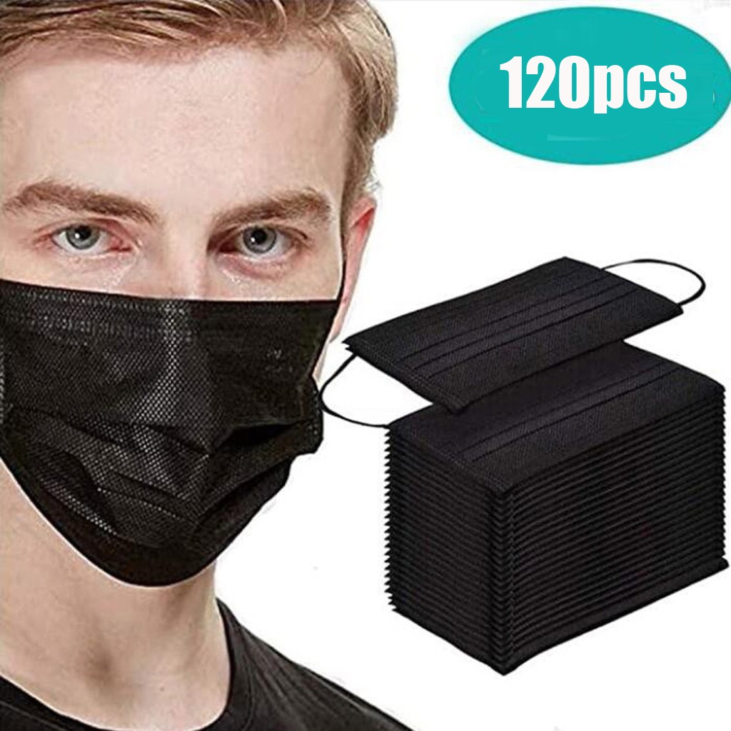 120pc Disposable Face Mask 3 Ply Protective Non-woven Dust-proof Mouth Face Masks Soft Breathable Hygiene Safety Mouth Mask