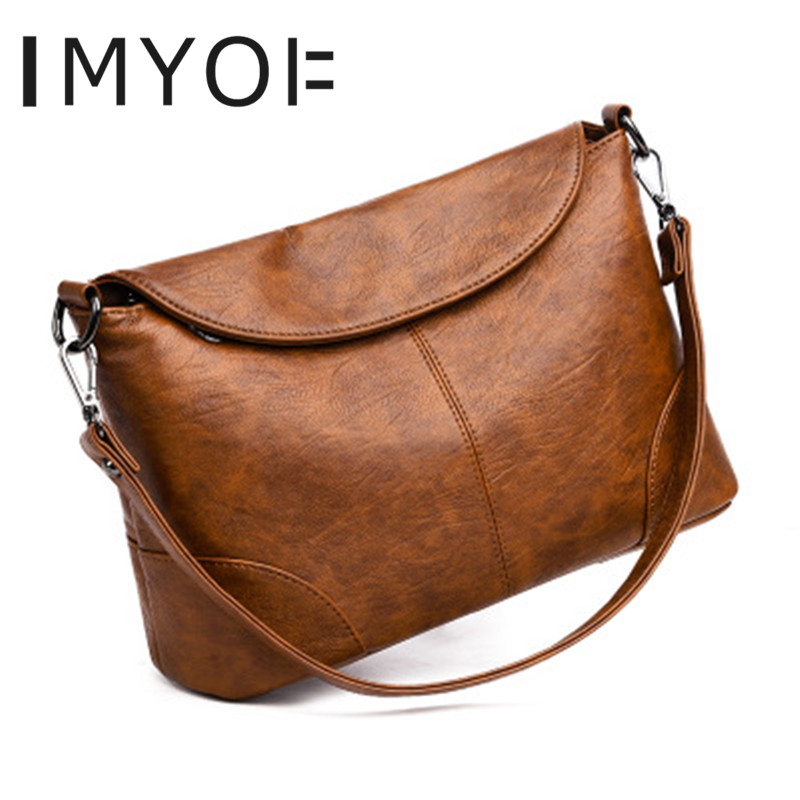 IMYOK Women's Bag 2019 New Fashion Genuine Leather Shoulder Messenger Bags Ladies Simple Soft Leather Handbag Sac A Main Femme