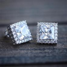 Luxury Women Square White Cubic Zirconia Stud Earrings Double For Fashion Jewelry