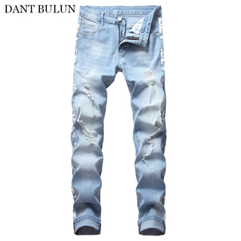 цена на Mens Denim Skinny Jeans Elastic Slim Fit Destroyed Ripped Jeans For Male Stretch Ripped White Printed Side Embroidery Trousers
