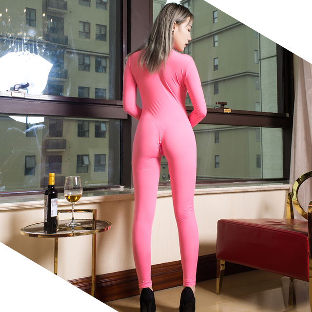 Transparent Slim Romper Skinny Double Zipper Party erotic costumes Sexy See through Open Crotch Bodycon Long Sleeve Jumpsuits 6