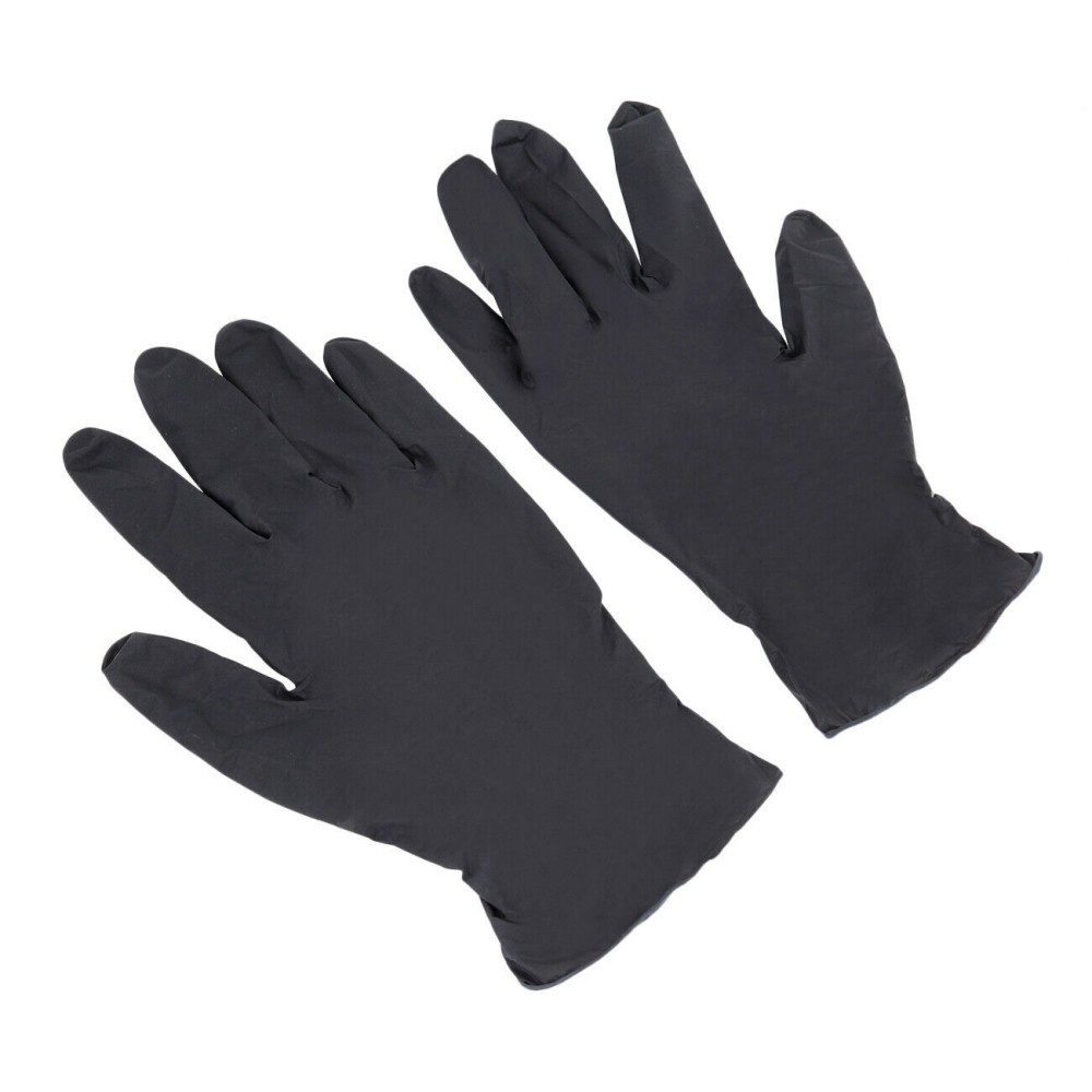100Pc Mechanic Nitrile Gloves Black Disposable Tattoo Latex Powder Free Workshop