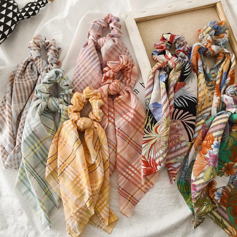 Floral Print Women Hair Scarf Elastic Hair Bands Bohemian Hairband Bow Hair Rubber Ropes Scrunchie Girls Hair Ties Wholesale
