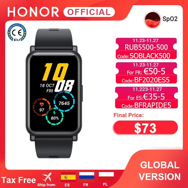 Version mondiale Honor Watch ES montre intelligente SpO2 Smartwatch surveillance de la fréquence cardiaque 5ATM 1.64