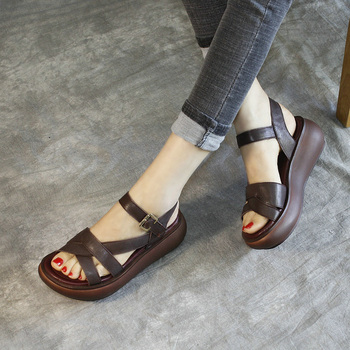 Retro Genuine Leather Platform Sandal Woman Sandals Women Summer New 2020 Women's Comfortable Cowhide Wedge Shoes High Heels 40 fedonas summer fur sandals women genuine leather sandals suede retro high heels square heel woman wedding party shoes woman