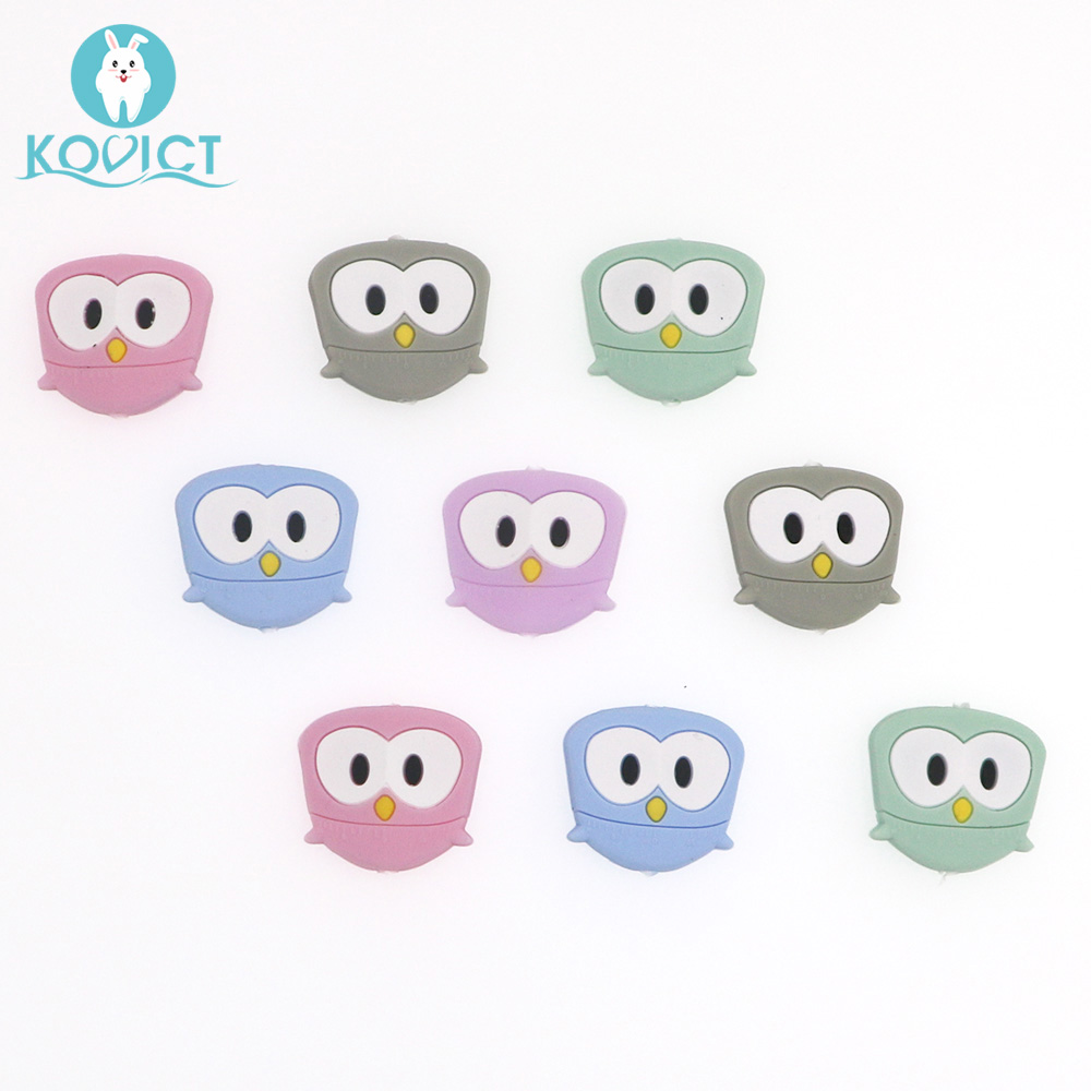 Kovict 5/10pcs 28mm Silicone Beads Cute Mini Owl BPA Free Baby Silicone Teether Food Grade Rodents DIY Baby Teething Toys