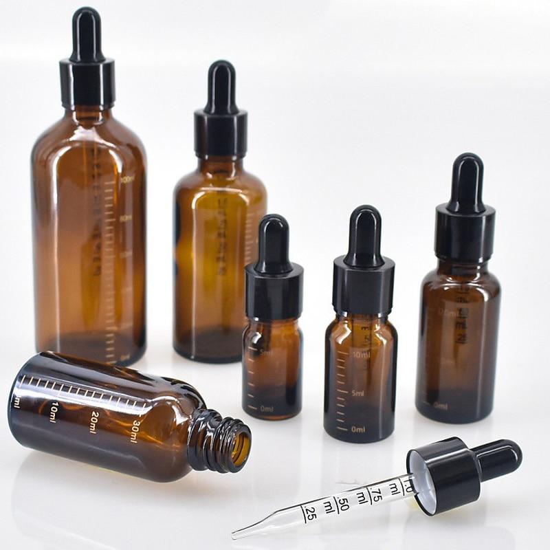 Флакон-капельница бутылки со шкалой 5 мл-100 мл химические реагенты для глазные капли Янтарный Стекло ароматерапия Пипетка для жидкости буты...