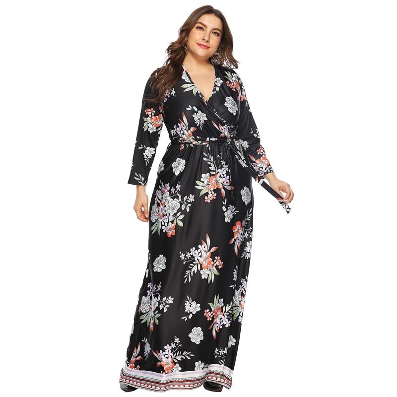 Nightdress large size female retro printing sexy deep V dress mopping floor long skirt black fashion elegant night dress 4XL