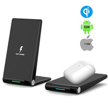 Foldable Wirless Charging Qi 15w Wireless Charger Stand for Iphone and Airpods Huawei Mate 20 Pro Quick Charge with Phone Holder(China)