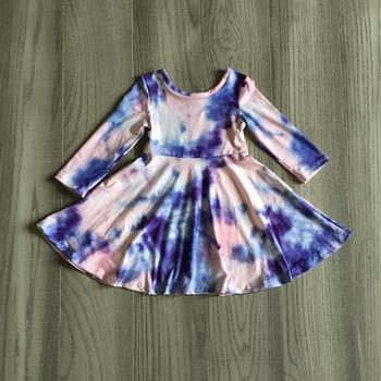Girlymax/осенне-зимняя хлопковая детская одежда для маленьких девочек молочный шелк, розовый, темно-синий, лавандовый галстук, окрашенное платье по колено, детская одежда