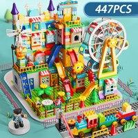 Nowy zamek diabelski młyn Park duże klocki do budowy Duploed klasyczne slajdów rozrywki DIY cegły plastikowe zabawki dla dzieci prezenty