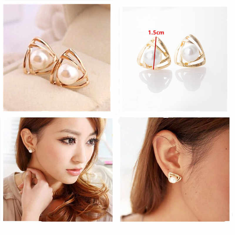 2019 New Time-limited Trendy Zinc Alloy Hot Fashion Simulated Pearl Geometric Triangle Stud Earrings For Woman Jewelry
