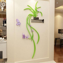цена на Acrylic DIY 3D flower wall stickers hanging orchid bedroom porch living room sofa background wall decoration mirror wall sticker