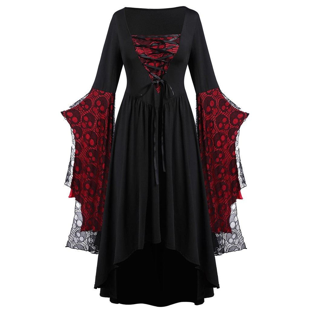 35#Halloween Party Dress For Women Plus Size Skull Lace Bell Sleeve High Waist Solid Maxi Dress Ladies Slim 2020